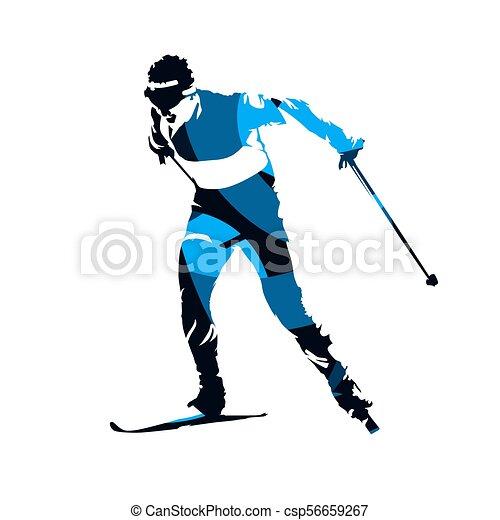 Un esquiador de campo, una silueta aislada abstracta azul - csp56659267