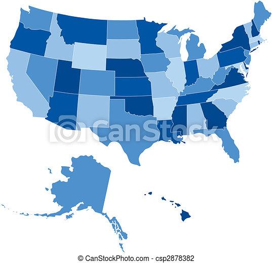 azul, estados, sombras, 50, eua - csp2878382