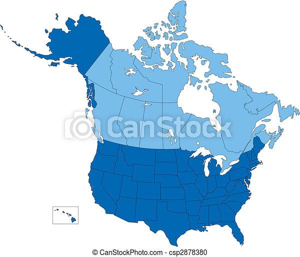 Estados Unidos y Canadá, estados y provincias, color azul - csp2878380