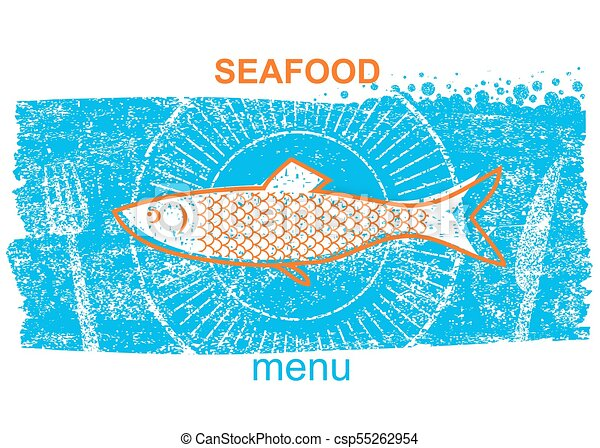 azul, estilo, antigas, menu, peixe, papel, label.vintage, fundo - csp55262954