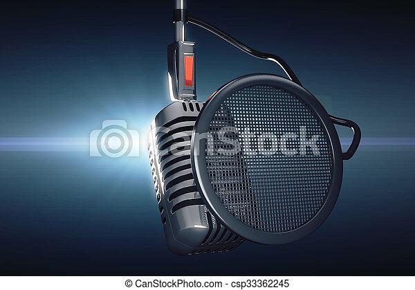 azul, estilo, viejo, micrófono, plano de fondo - csp33362245