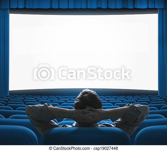 Preestreno exclusivo de películas en pantalla grande. Auditorio de cine VIP azul. El concepto de la casa de arte. - csp19027448