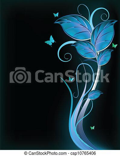 azul, experiência., vetorial, pretas, floral - csp10765406