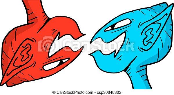 azul, fantasia, vermelho, caras - csp30848302