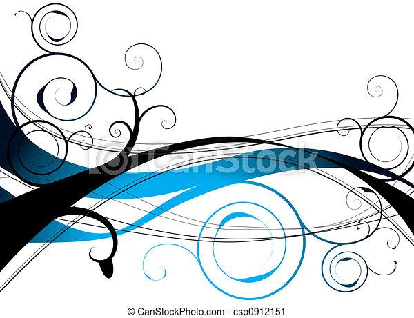 Un remolino floral azul - csp0912151