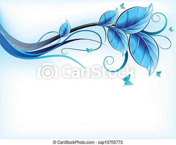 azul, floral, vector, fondo. - csp10705773