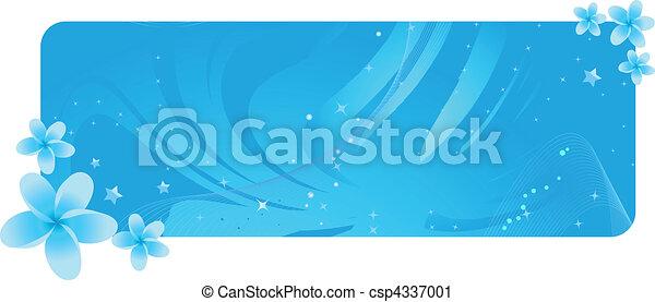 azul, flores tropicais, bandeira - csp4337001