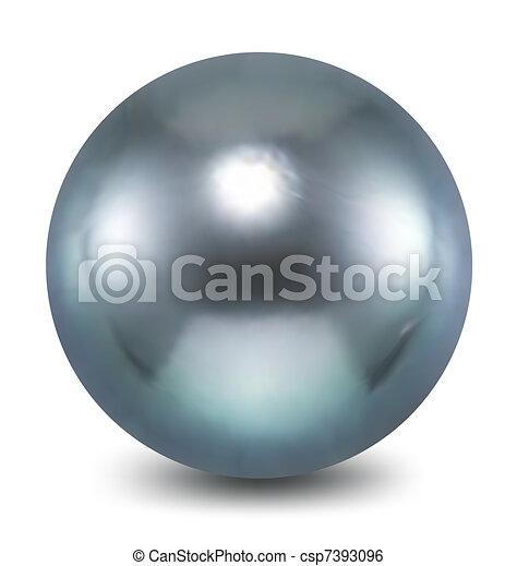 azul, fondo., blanco, vector, perla - csp7393096