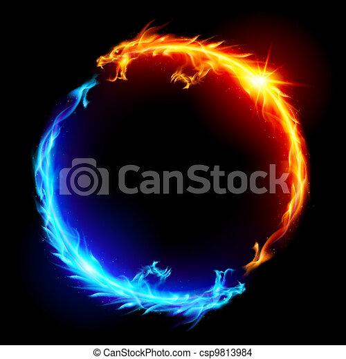 Dragones de fuego azul y rojo - csp9813984