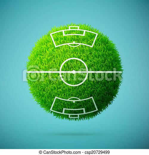 Esfera de hierba verde con campo de fútbol en un fondo azul claro - csp20729499