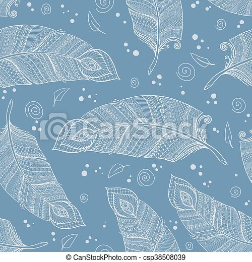 Asiana, floral, floral, retro-doodle azul, modelo de fondo en vector con plumas. - csp38508039