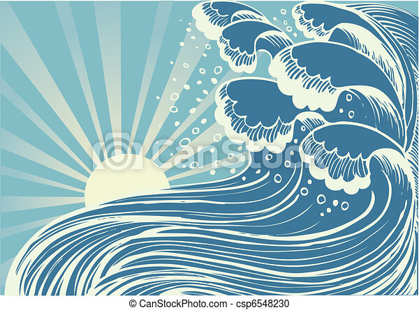 azul, grande, sea.vector, ondas, tormenta, sol, día - csp6548230