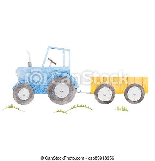azul, granja, ilustración, hermoso, tractor., acuarela, acción, lindo - csp83918356