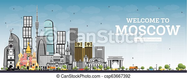 Bienvenidos a Moscú Rusia Skyline con edificios grises y cielo azul. - csp63667392
