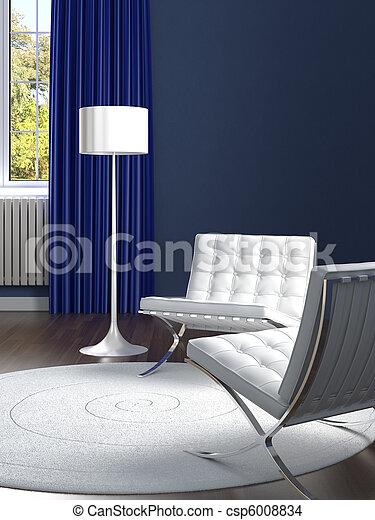 Diseño de interior clásico azul con sillas blancas - csp6008834