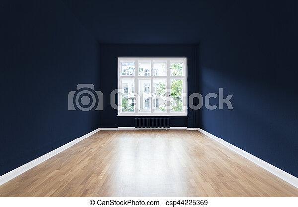 Azul Habitacion Pintado Paredes Vacio Nuevo Hogar Habitacion - Paredes-pintadas-de-azul