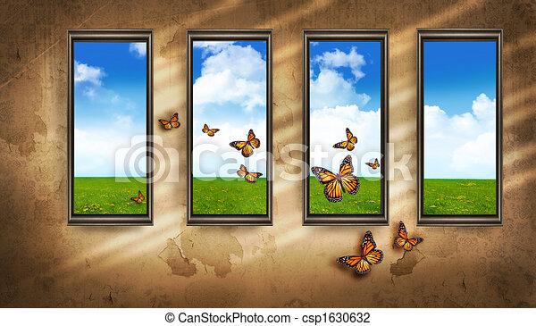 El sucio cuarto oscuro con ventanas y mariposas y cielo azul - csp1630632