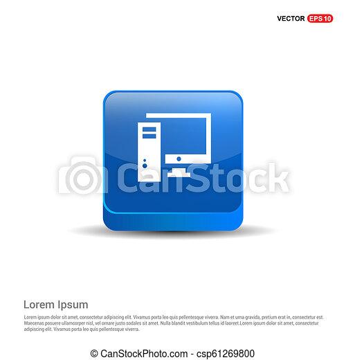 Desktop icono de computadora - 3D botón azul - csp61269800