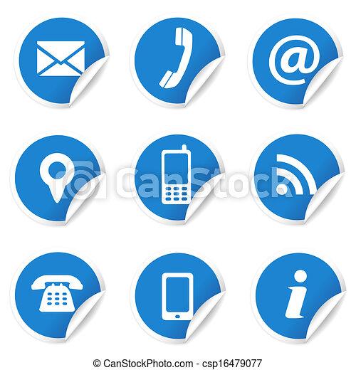 iconos de contacto en las etiquetas azules - csp16479077