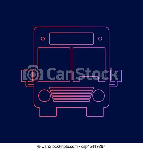 Ilustración de letreros de autobús. Vector. Icono de línea con gradiente de rojo a violeta en el fondo azul oscuro. - csp45419267