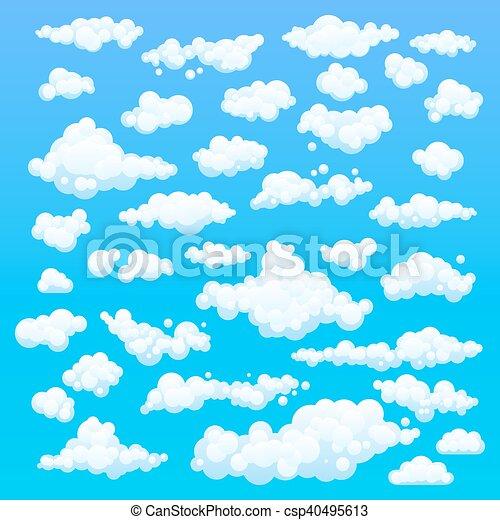 Nubes de dibujos animados. Ilustración de fondo azul para el diseño - csp40495613