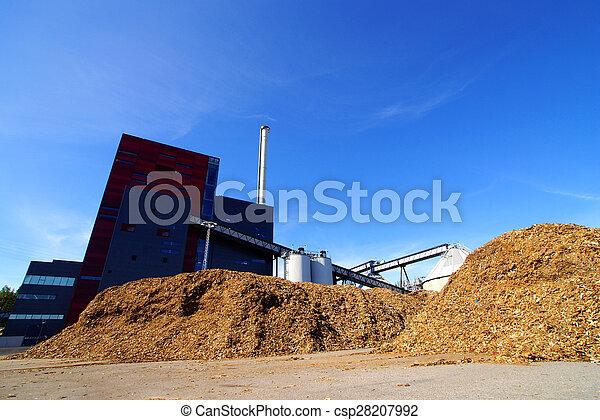 Fábrica industrial moderna contra el cielo azul - csp28207992