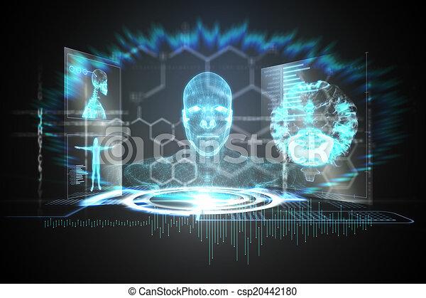 Interfaz médica en azul y negro - csp20442180