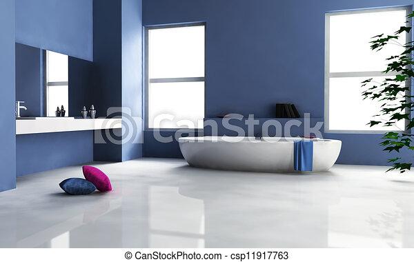 Azul, interior, cuarto de baño, diseño. Cuarto de baño, grande ...