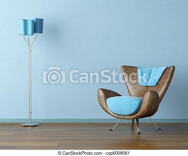 Interior azul con sofá y lámpara - csp6008061