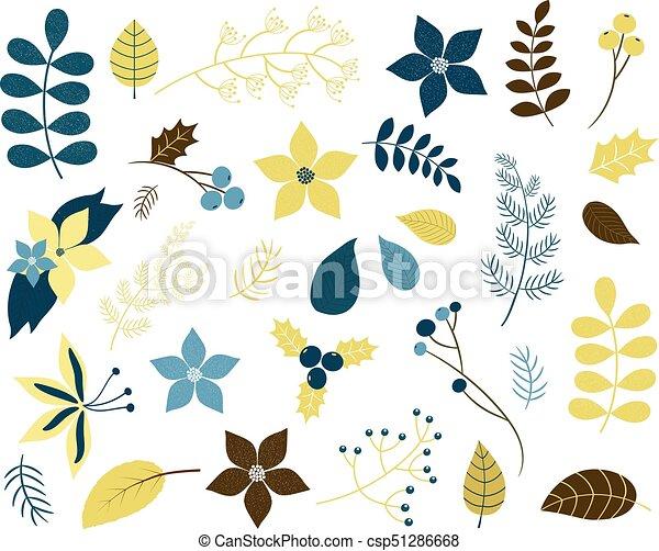 Azul, invierno, oro, hojas, ramitas, flores, colores, follaje verde ...