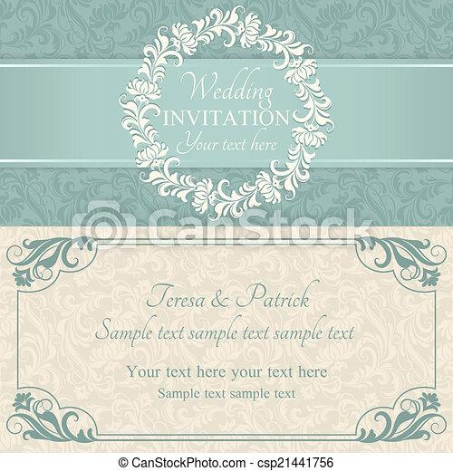 Invitación barroca de boda, azul y beige - csp21441756