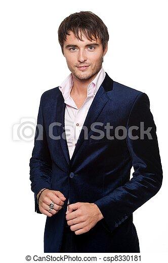 Hermoso joven con chaqueta azul. - csp8330181