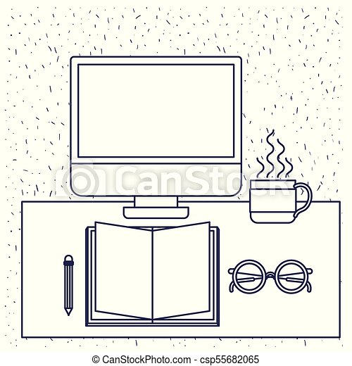 Antecedentes blancos con silueta azul de escritorio de oficina con libros de computación y gafas y lápiz y taza de café - csp55682065