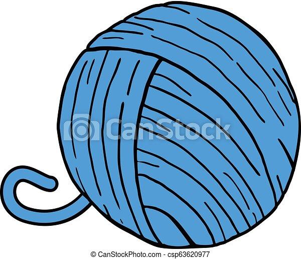 Bola azul de lana - csp63620977