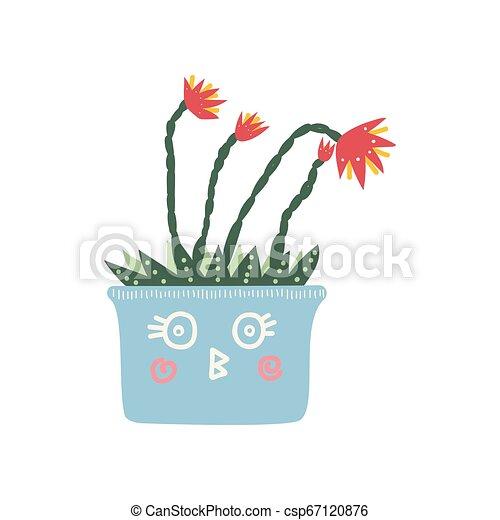 Planta floreciente en una maceta azul claro, elemento de diseño para ilustración de decoración interior natural de interiores - csp67120876