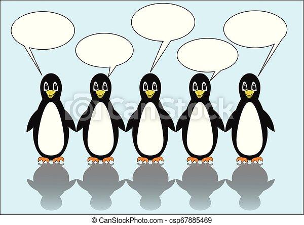 Grupo de cinco pingüinos con burbujas de habla. Llamadas en blanco para su propio mensaje. Linda ilustración sobre el fondo de hielo azul claro, - csp67885469
