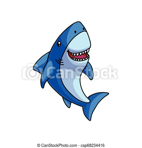 Un lindo tiburón gris azul se ríe con la boca abierta - csp68234416