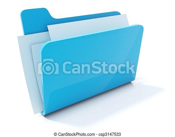 Un icono completo de carpeta azul aislado en blanco - csp3147533