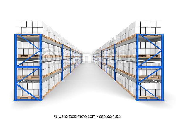 estanterías del almacén dos filas. Sombras de piso. Parte de una serie de Blue Warehouse y logística - csp6524353