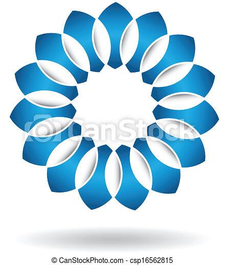 azul, logotipo, abstratos, flor - csp16562815