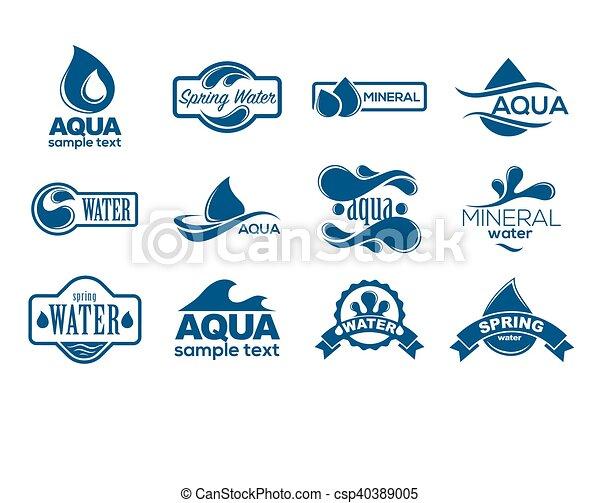 azul, logotipos, mineral, ícones, collection., set., aqua, etiqueta, water. - csp40389005