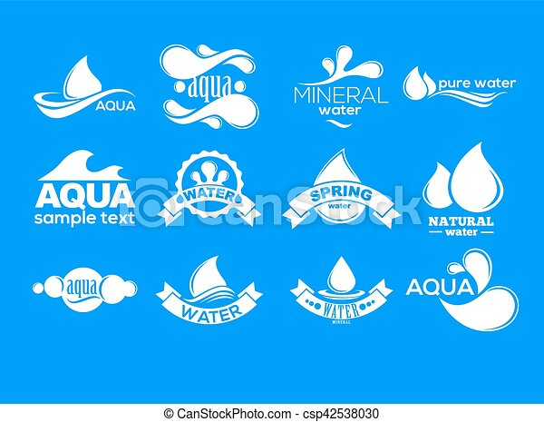 azul, logotipos, mineral, ícones, collection., set., aqua, etiqueta, water. - csp42538030