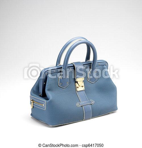 azul, luxery, na moda, couro, saco mão - csp6417050