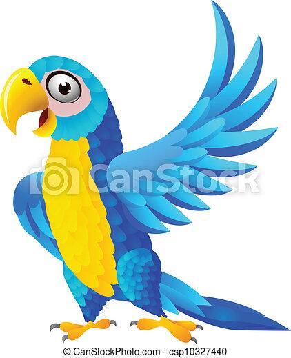 azul, macaw, caricatura - csp10327440