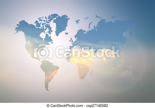 azul, mapa, chama, céu, obscurecido, mundo - csp27145582