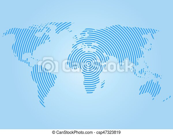 azul, mapa, concepto, mundial, mundo, comunicación, moderno, anillos, fondo., vector, diseño, ondas, radio, concéntrico, blanco, papel pintado - csp47323819
