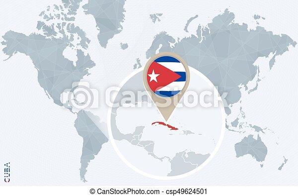 Cuba Mapa Del Mundo.Un Mapa Del Mundo Azul Abstracto Con Una Cuba Magnifica Bandera Y Mapa De Cuba Ilustracion De Vectores