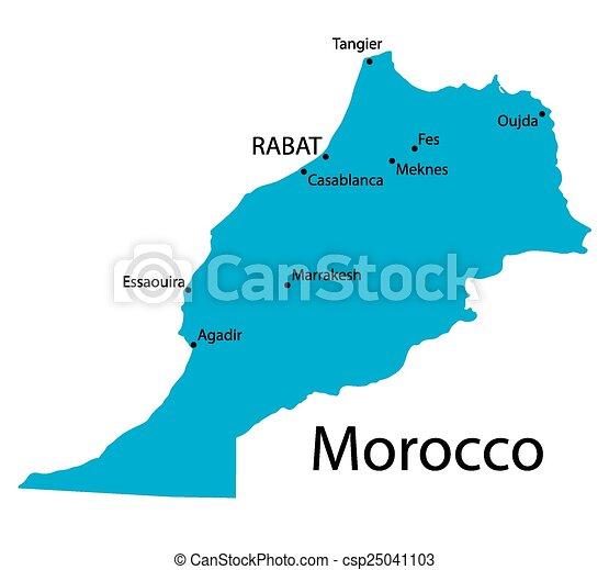 Mapa De Marruecos Ciudades.Mapa Azul De Marruecos Con Indicaciones De Ciudades Mas Grandes