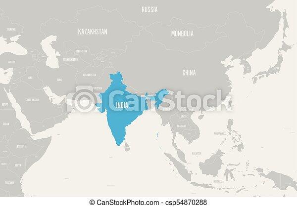 Azul India marcada en el mapa político del sur de Asia. Ilustración de vectores - csp54870288