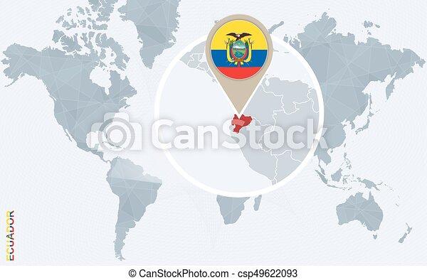 Ecuador Mapa Del Mundo.Abstraer Mapa Del Mundo Azul Con Magnifico Ecuador Bandera Ecuador Y Mapa Ilustracion De Vectores